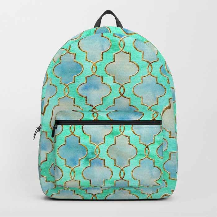 Luxury Aqua Teal Mint and Gold oriental quatrefoil pattern Backpack
