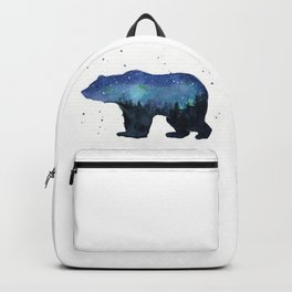 Forest Bear Silhouette Watercolor Galaxy Backpack