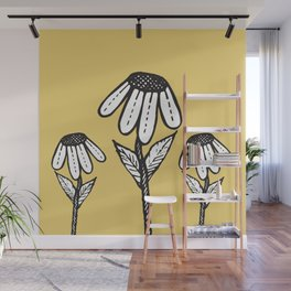 Cute Sad Drooping Hand Drawn Flowers Wall Mural
