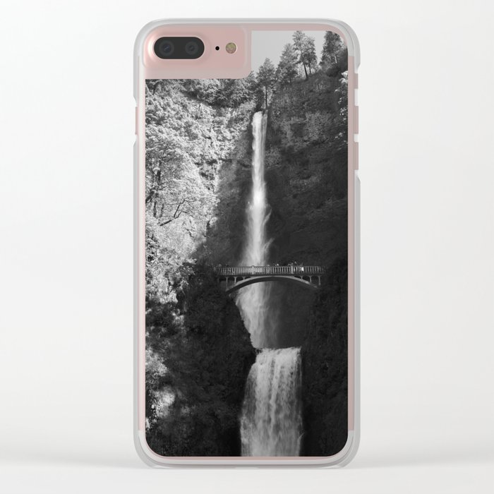 Multnomah Falls Oregon Waterfall Black and White Clear iPhone Case