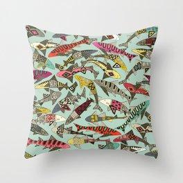 shark party summer Throw Pillow