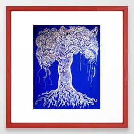Blue Henna Mehndi Tree of Life print Framed Art Print