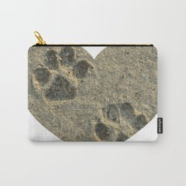 Forever Paw Prints in the Sand Heart Carry-All Pouch