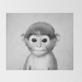 Baby Monkey - Black & White Throw Blanket
