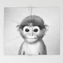 Baby Monkey - Black & White Throw Blanket