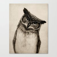 sketch Canvas Prints featuring Owl Sketch by Isaiah K. Stephens