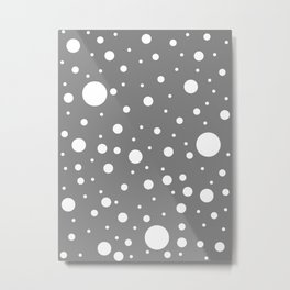 Mixed Polka Dots - White on Gray Metal Print