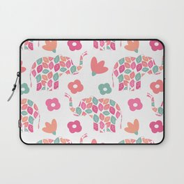 cute colorful abstract pattern background with leaves elephants and flowers Laptop Sleeve