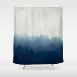 misty blue forest Shower Curtain