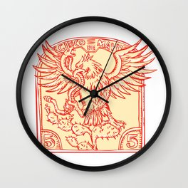 Mexican Eagle Devouring Snake Etching Wall Clock