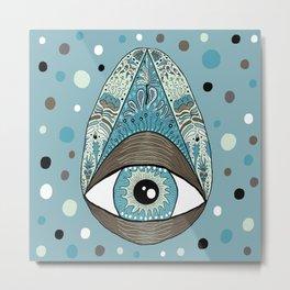 pysanky eye egg, blue green brown white black Metal Print