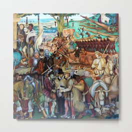 Mural of exploitation of Mexico by Spanish conquistadors by Diego Rivera Metal Print