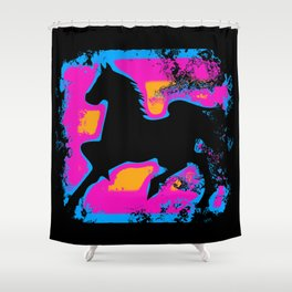 Colorful Western-style Horse Silhouette Shower Curtain