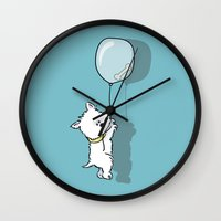 westie Wall Clocks featuring Hungry Westie Puppy by Lucy Olver