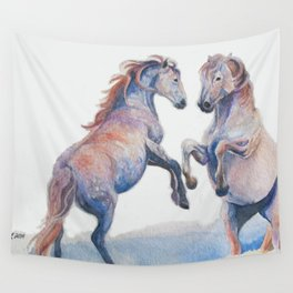 Fighting Stallions Wild Horse Wall Tapestry