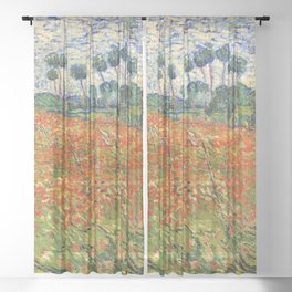 Poppy Field by Vincent van Gogh, 1890 painting Sheer Curtain