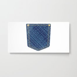 Plain Denim Pocket Metal Print