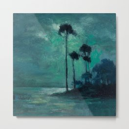 Tropical Nocturnal Landscape with Palms by Charles Warren Eaton Metal Print
