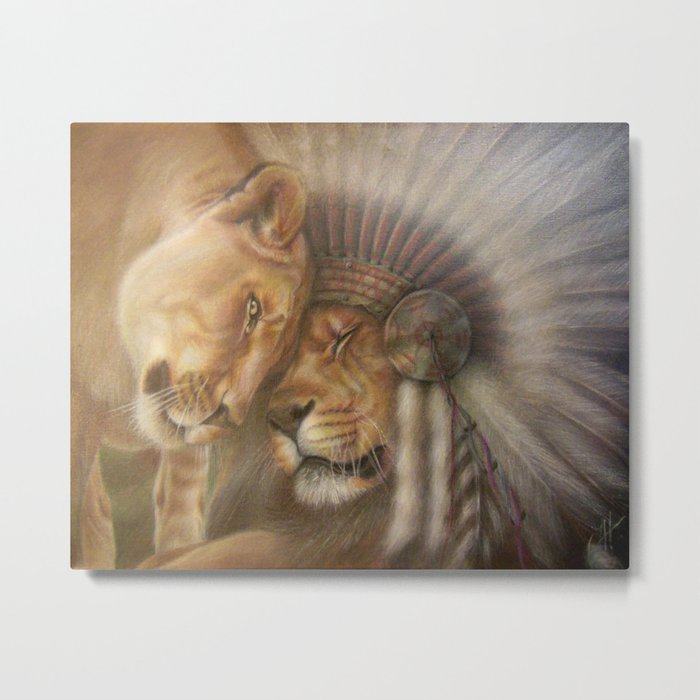 A Lion Love Story Metal Print