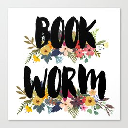 Floral Bookworm Canvas Print