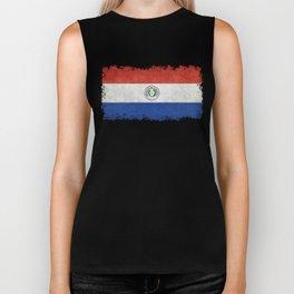 Paraguay Flag, vintage with distressed edges Biker Tank