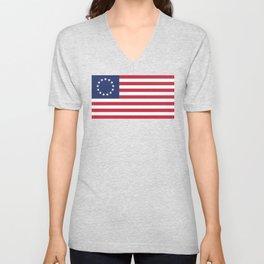 Betsy Ross flag of the USA Unisex V-Neck