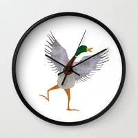 duck Wall Clocks featuring Duck by Jade Young Illustrations