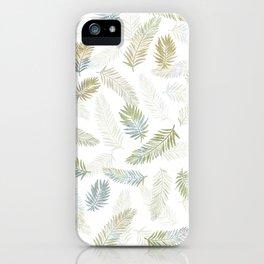 Tropical leaf pattern - Kaki, beige & grey iPhone Case
