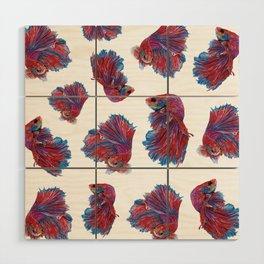 Ocean Theme- Red Blue Betta Fish Wood Wall Art