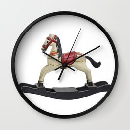 toy rocking horse design Wall Clock