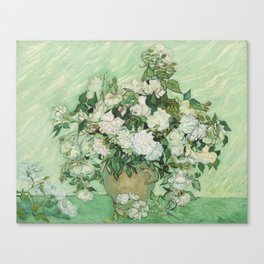 Vase With Pink Roses by Vincent Van Gogh Canvas Print