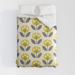 Mod Flowers in textured yellow and gray ©studioxtine Comforters