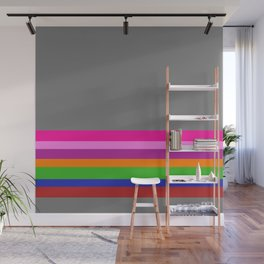 Solid Gray w/ Multicolor Divider Lines #1 - Abstract Art Illustration Wall Mural
