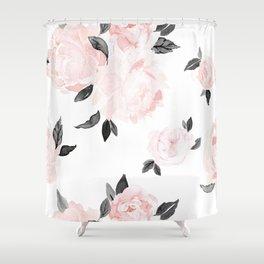 Vintage Blush Floral - BW Shower Curtain