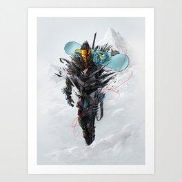 Ninja mode snowboaring Art Print