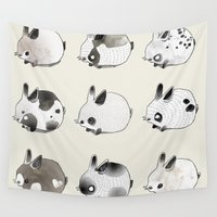 bunnies Wall Tapestries featuring Little Bunnies by Coco Crisis