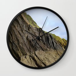 Natural Textured Cliff Face with Blue Skies Wall Clock
