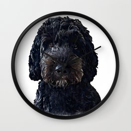 Black Cockapoo / Doodle Dog Portrait  Wall Clock