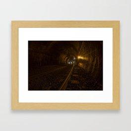 Active train tunnel Framed Art Print