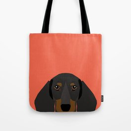 Doxie Portrait - Black and Tan dog design - cute dachshund face Tote Bag