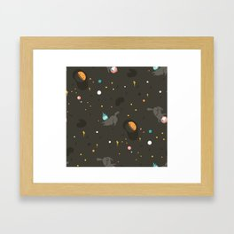 Space unicorn pattern Framed Art Print