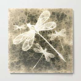 Textured dragonflies in beige Metal Print