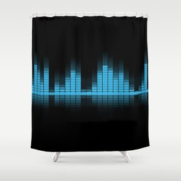 Blue Graphic Equalizer on Black Shower Curtain