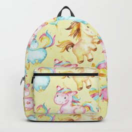 Unicorn Zoo- Cute pastel unicorn on yellow Backpack