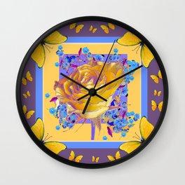 YELLOW BUTTERFLIES ART ROSE FLOWERS PUCE Wall Clock