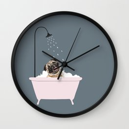 Laughing Pug Enjoying Bubble Bath Wall Clock