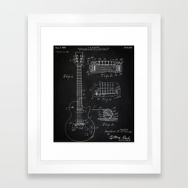 Gibson Guitar Patent Les Paul Vintage Guitar Diagram Framed Art Print