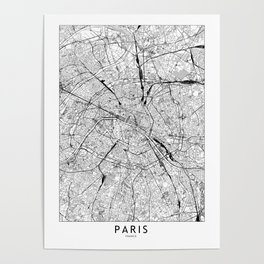 Paris White Map Poster