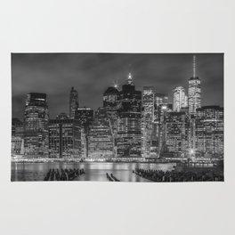 NEW YORK CITY Monochrome Night Impressions   slim panoramic Rug
