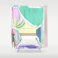 vermont Shower Curtains featuring Vermont Window by Emily Rachel Designs